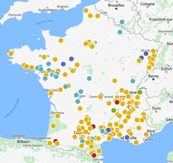 Carte des projets citoyens d'énergie renouvelable EnR en France, recensés par Énergie Partagée et ses réseaux régionaux