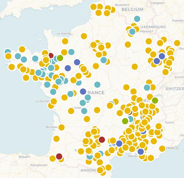 Carte de France des projets citoyens d'énergie renouvelable recensés par Énergie Partagée au 3 mai 2021.