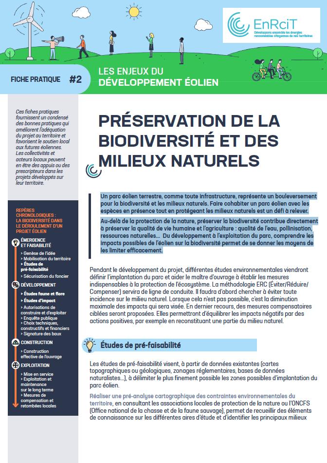 Visuel de la première page de la fiche pratique 'Préservation de la biodiversité et des milieux naturels'
